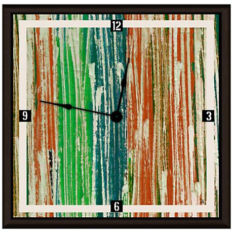 "Abstract Green And Orange Lines 16"" Square Clock"