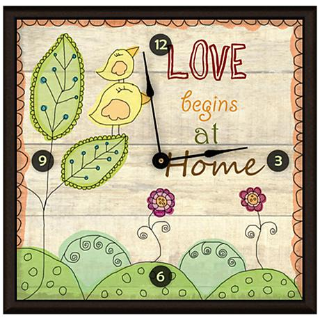 "Cartoon Drawing Love At Home 16"" Square Clock"