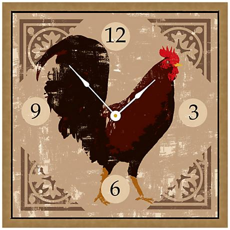 "Rooster On Cream 16"" Square Rustic Clock"