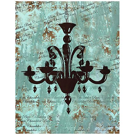 "Vintage Chandelier I 28"" High Giclee Canvas Wall Art"