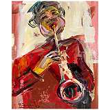 "Abstract Musician II 30"" High Giclee Canvas Wall Art"