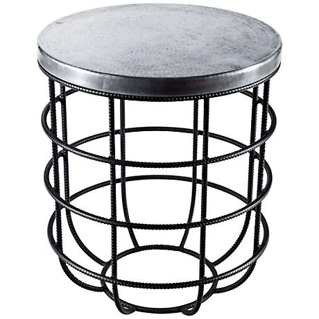 Axel Round Iron and Hammered Zinc Side Table