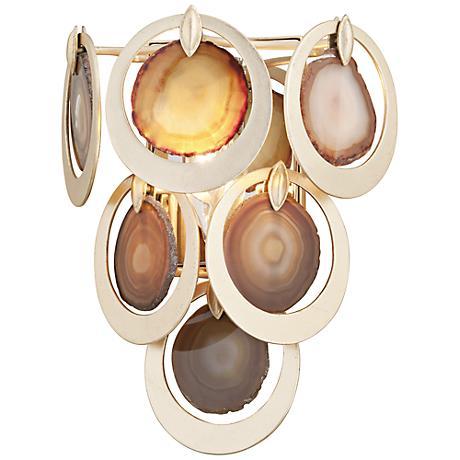 "Corbett Rockstar 15 3/4"" High Gold and Agate Wall Sconce"