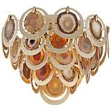"Corbett Rockstar 19 1/4"" Wide Gold and Agate Ceiling Light"