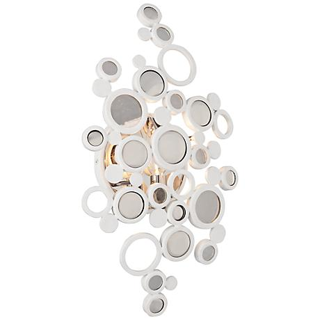 "Corbett Fathom 16 3/4"" High Crystal Disc White Wall Sconce"