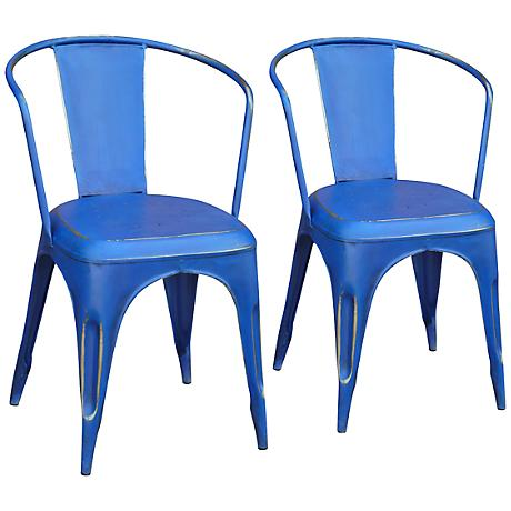 Set of 2 Weathered Blue Metal Dining Chairs