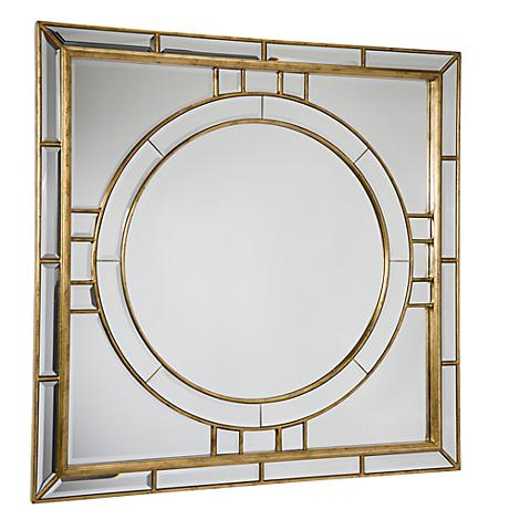 "Regina-Andrew Beveled Gold 36"" Square Wall Mirror"