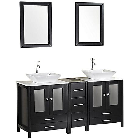 "Arlington Espresso 61"" Double Sink Vanity Set"