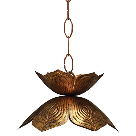 "Jamie Young Flowering Lotus 10 1/2"" Wide Gold Pendant"