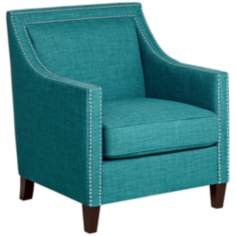 Flynn Teal with Chrome Nailheads Accent Chair