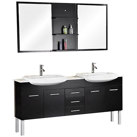 "Belini Espresso 72"" Double Sink Vanity Set"