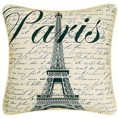 "Paris Eiffel Tower 18"" Square Decorative Printed Pillow"