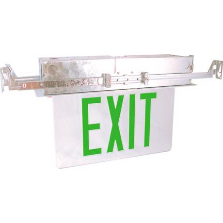 Recessed Green Battery Backup Exit Sign