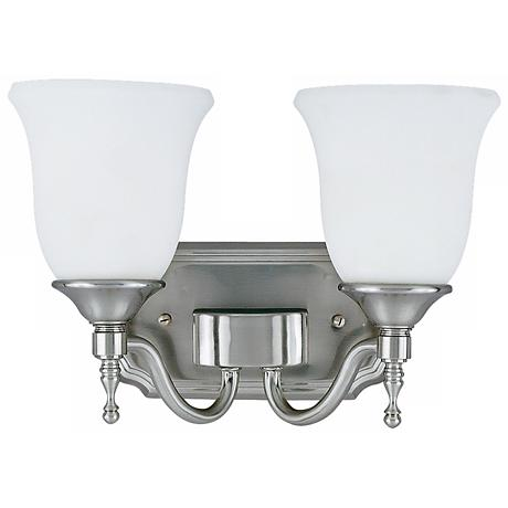 "Tritan Nickel Finish 13"" Wide Two Light Bathroom Fixture"