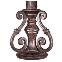 Vintage Rust Scroll Outdoor Lighting Pier Mount