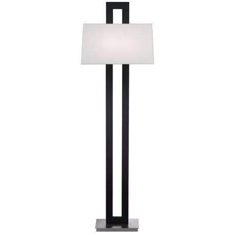 Blackened Steel Rectangular Column Floor Lamp