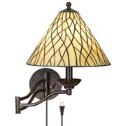 Robert Louis Tiffany Iron Vine Swing Arm Wall Lamp