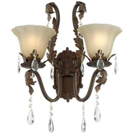 "Iron Leaf 15 1/2"" Wide Bronze and Crystal Wall Sconce"
