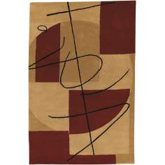 Burgundy Abstract Handmade Rug