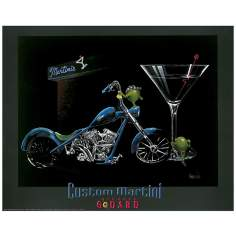 "Michael Godard Martini Motorcycle 30"" Wide Wall Art"