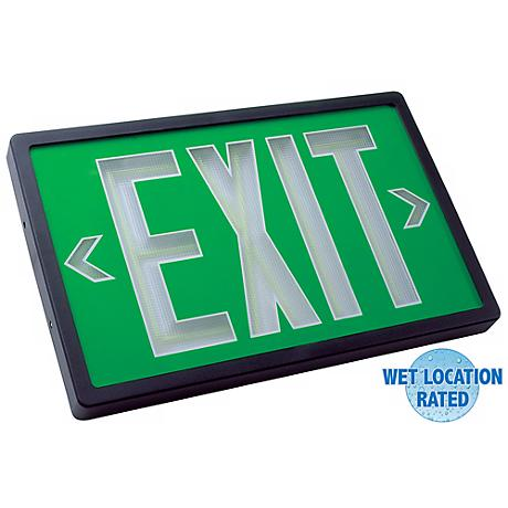 Self-Luminous Black and Green 2-Face Exit Sign