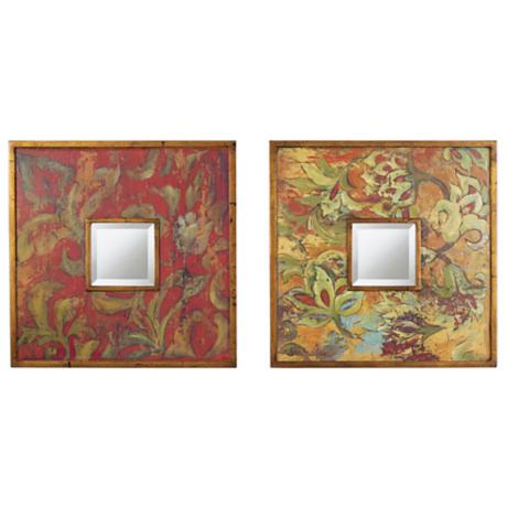 "Uttermost Set of Two Colorful Flowers 19"" Wide Wall Mirrors"