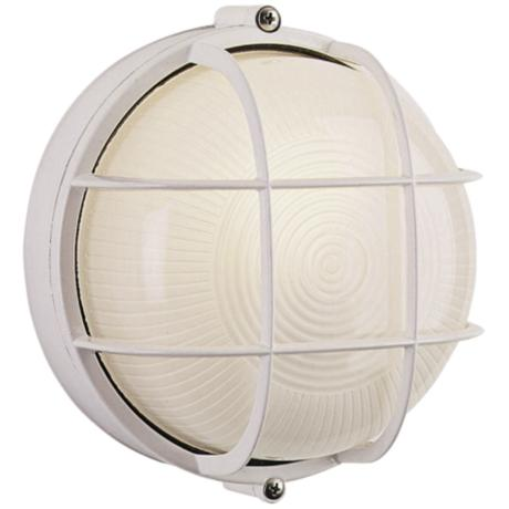 "Bulkhead Collection 7"" Round White Outdoor Wall Light"