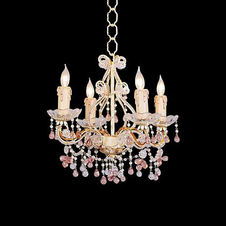 Annabella Four Light Colored Crystal Chandelier