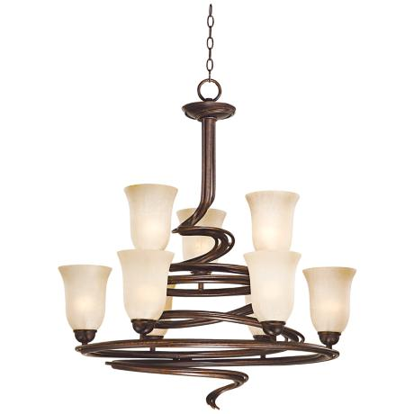 "Swirled Iron Bronze Finish 2-Tier 26"" Wide Chandelier"
