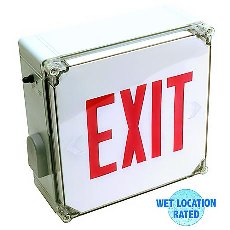 Wet Location Red LED Exit Sign