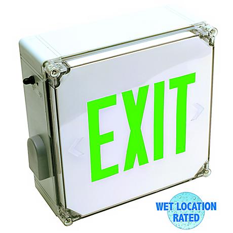Wet Location Green LED Exit Sign