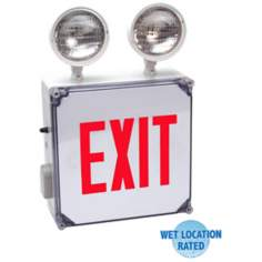 Wet Location Red Emergency Light Exit Sign