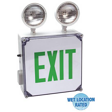 Wet Location Green Emergency Light Exit Sign