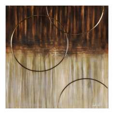"Bronze Arc 35"" High Abstract Oil Painting"