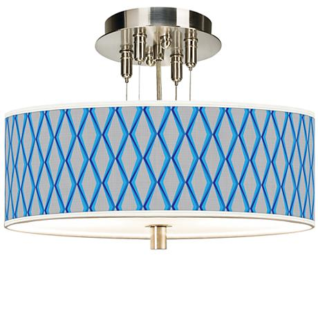 "Bleu Matrix Giclee 14"" Wide Ceiling Light"