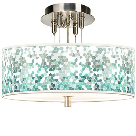 "Aqua Mosaic Giclee 14"" Wide Ceiling Light"