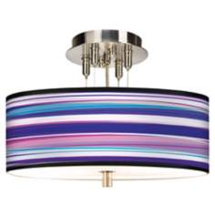 "Purple Neon Giclee 14"" Wide Ceiling Light"
