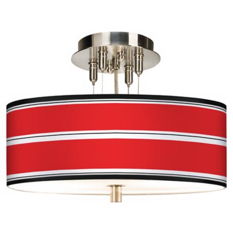 "Red Stripes Giclee 14"" Wide Ceiling Light"