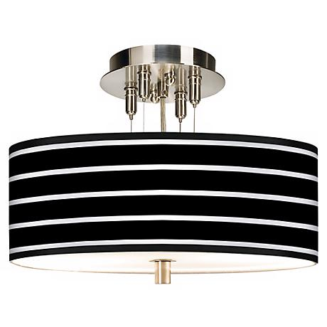 "Bold Black Stripe Giclee 14"" Wide Ceiling Light"
