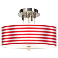 "Red Horizontal Stripe Giclee 14"" Wide Ceiling Light"