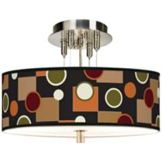 "Retro Medley Giclee 14"" Wide Ceiling Light"