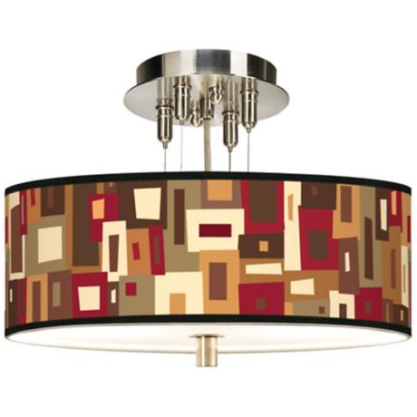 "Earth Palette Giclee 14"" Wide Ceiling Light"