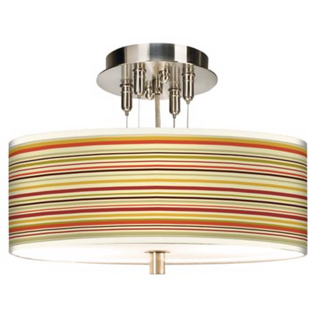 "Stacy Garcia Lemongrass Stripe Giclee 14"" Wide Ceiling Light"