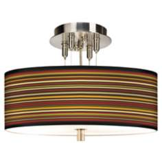 "Stacy Garcia Spice Stripe Giclee 14"" Wide Pendant Chandelier"