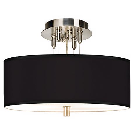 "All Black Giclee 14"" Wide Ceiling Light"