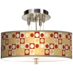 "Retro Dotted Squares Giclee 14"" Wide Ceiling Light"