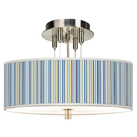 "Stacy Garcia Cabana Stripe Giclee 14"" Wide Ceiling Light"