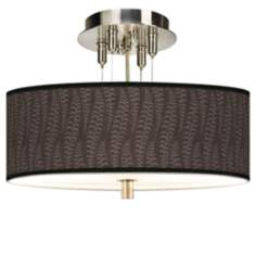 "Stacy Garcia Fancy Fern Taupe Giclee 14"" Wide Ceiling Light"