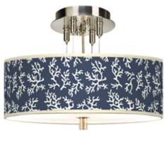 "Prussian Coral Giclee 14"" Wide Ceiling Light"