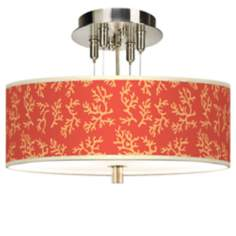 "Tangerine Coral Giclee 14"" Wide Ceiling Light"